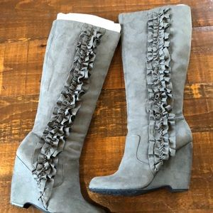 Elle brand tall grey suede like boots